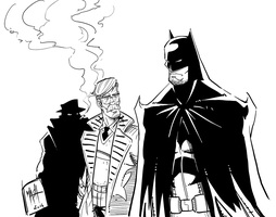 Batman and Gordon Inks by Rexbegonia