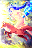 Fanart : Ahri and Fox ! by Khaox-Seraphim