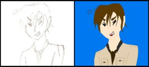 Hetalia Romano colored and uncolored by wolf-petal
