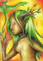 ACEO Strix - The fire dryad by ElorenLeianor