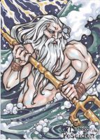 Poseidon Sketch Card - Amber Shelton by Pernastudios