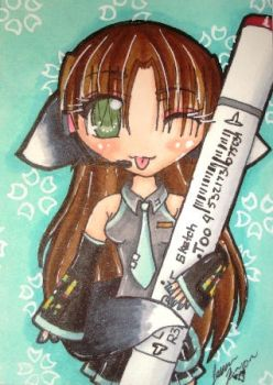 Copic Miku Cosplay Chibi ACEO by Kibame