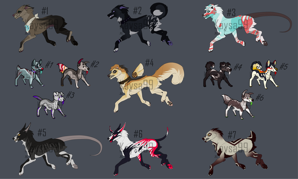SOME BIG AND TINY CANINES|OPEN ADOPTS!!! by Kaysa99