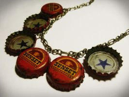 Sunset Sarsaparilla Star Bottle Cap Necklace by penguinluv4ever