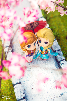 Elsa and Anna . Hanami by OrchidDolls