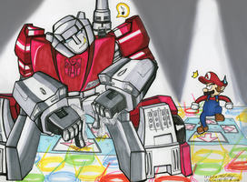 DDR Battle: Sideswipe vs Mario by Sagojyousartpage