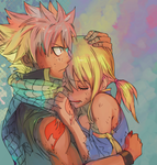 Fairy Tail Natsu x Lucy colored by pho3nixdown