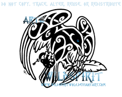 Knotwork Raven And Quill by WildSpiritWolf