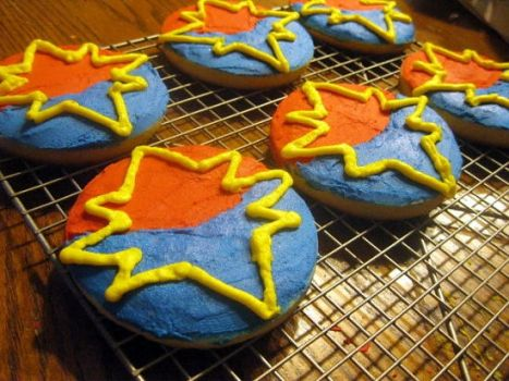 Captain Marvel Cookies by happysorceress