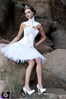 White Embellished Corset and Tulle Skirt by DaisyViktoria