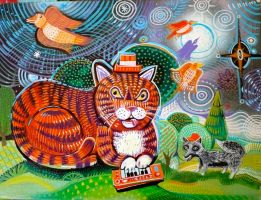 Red Cat with Dr Invert the Fox by hyronomous
