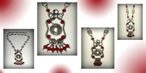 Blood red onyx and stainless steel necklace by marsvar