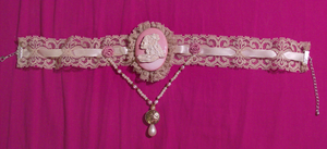 Skeleton Cameo Choker Pink by MorganCrone