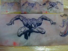 Spiderman black and white tattoo by Dragon8or