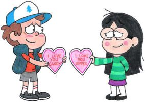 Dipper 'n Candy's Valentine Hearts by nintendomaximus