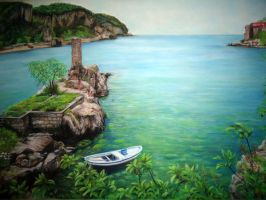 Soft Pastel Landscape  AMASRA  small port by blackblacksea