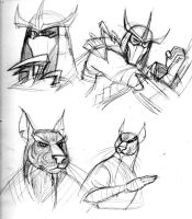 TMNT 2012-Shredder and Splinter practice sketches by queenbean3