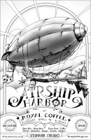 Airship Harbor poster for Steampunk Chicago by zombie2012