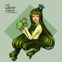 the green apple by kyuubiXkitsune