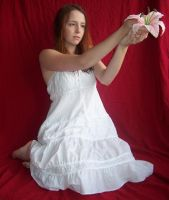 White Angel-Fairy W Flower 12 by Gracies-Stock