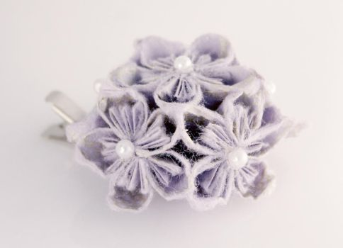 Artisan Half Flower Ball Paper Hair Clip in Purple by SmexySarah