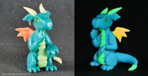 Blue Glow-in-the-dark Dragon by HowManyDragons