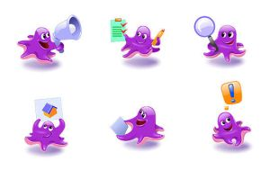 Octopus cartoon icon set by hugoo13