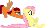 Chest Nut pushes Fluttershy around by Fluttershy-rocks123