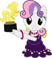 Sweetie Belle Holding a Trophy by Jeatz-Axl