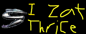 I zat thrice - Bumper sticker by Liana-Wolfe