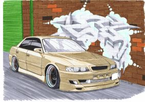 JZX100 chaser, tagged wall by SquidInc