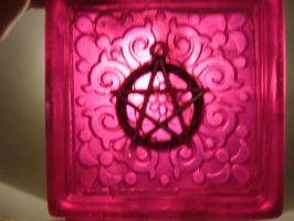 Scrollwork with pentacle charm by butterflypromqueen