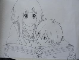Chitanda and Oreki (hyouka) by maalunin
