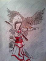 assassin girl and eagle by KazeandGeira