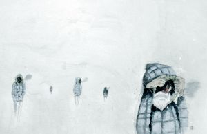 Snowmen Watercolor Painting by TheNewestRedRanger