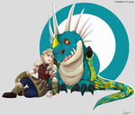 Astrid and Stormfly by Midoromi