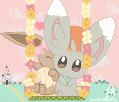 eevee and minccino by jirachicute28