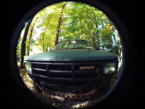 this truck is just chilling out in the woods by nastysauceohyes