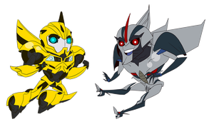 .:Bumblebee and Starscream, chibis:. by JACKSPICERCHASE