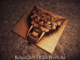 Sabre Tooth Tiger Pyrography by KenazArt