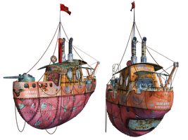 Steampunk Flying Tug Boat 03 PNG Stock by Roys-Art