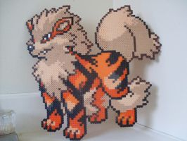 Pokemon: Perler Bead Arcanine Sprite by heatbish