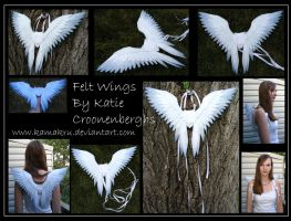 Felt Wings .:. White with blue by Kamakru