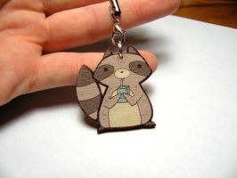 wooden raccoon charm by michellescribbles