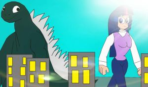 Godzilla and Twilight Sparkle in the city by alvaxerox