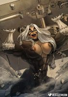 Black Cat Breaks The Bank by female-muscle-comics