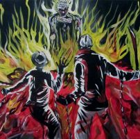 Pinhead destroying Freddy and Jason (Closer up) by AmandaPainter87