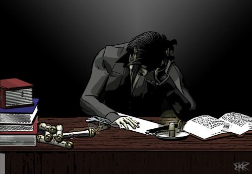 Snape -- Asleep at Desk by deathoflight