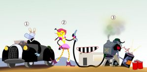 robots at a gas station by blurymind