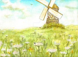 Windmill in Endless Feild by osoa-akiondtuade